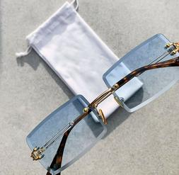 AAA Quality Baby Blue Retro Rectangle Gold Vintage Rimless S