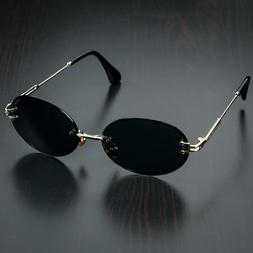Black Dark Tint Gold Frame Buffs Rimless Retro Vintage Mens