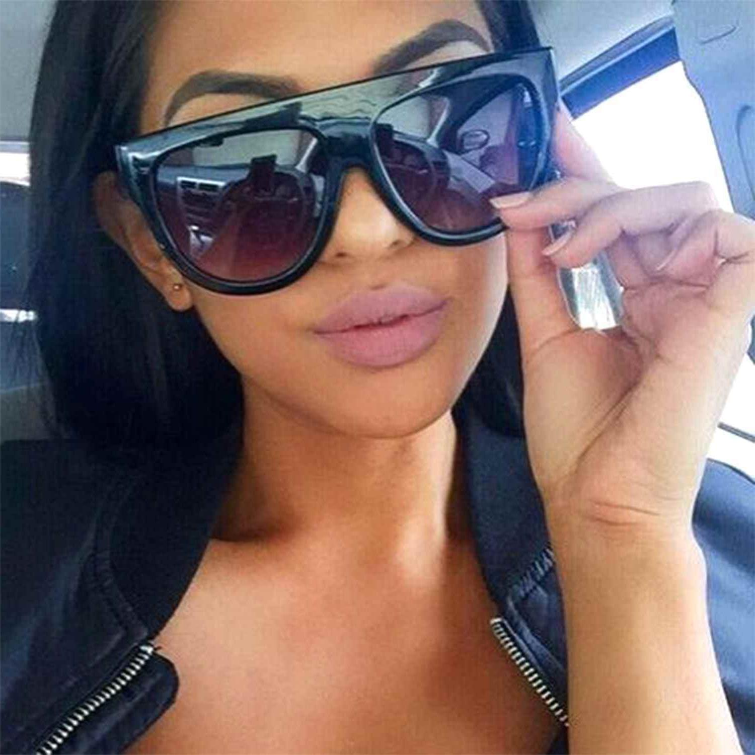 celebrity flat top shadow sunglasses oversized thick