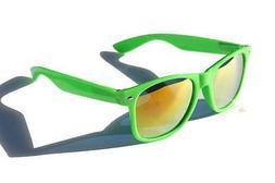 Neon Green with yellow mirror lens horned rim sunglasses ret