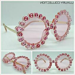Oversize Exaggerated Retro SUNGLASSES Funky Round Pink Frame