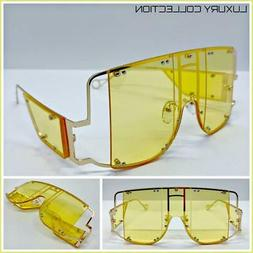 Oversized Exaggerated Retro Shield Style SUNGLASSES Gold Met
