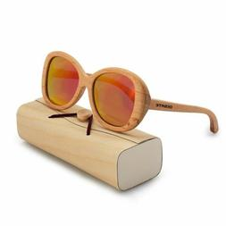 BEDATE Polarized Wood Sunglasses with UV 400 Protection Grad