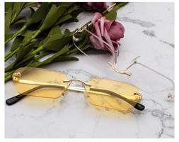 Rimless Rectangle Sunglasses Clear Color Summer Accessories