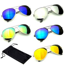 SUNGLASSES Aviator Mirrored Mens Womens UV400 New Lens Frame