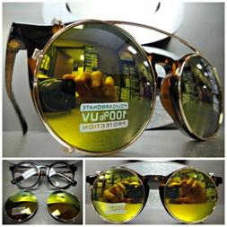 VINTAGE 60s RETRO Style Clear Lens CLIP ON SUN GLASSES Round