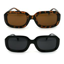 Womens Thick Plastic Mod Narrow Rectangular Retro Sunglasses