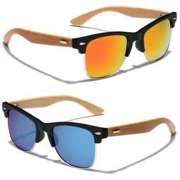 Wooden BAMBOO SUNGLASSES Retro Vintage Wood Mens Womens Horn